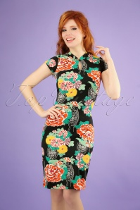 King Louie 70s Chinese Mai Tai Dress in Black