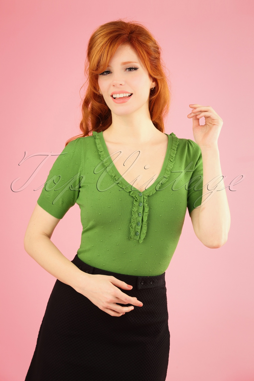 Women's 70s Shirts, Blouses, Hippie Tops 60s Droplet Ruffle V Neck Top in Kiwi Green �48.41 AT vintagedancer.com