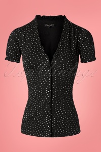 King Louie 27138 Black Celia Blouse Little Dots 20181121 002W