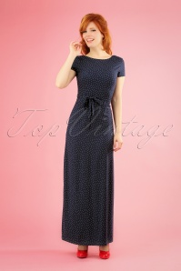 King Louie 70s Sally Little Dots Maxi Dress in Nuit Blue