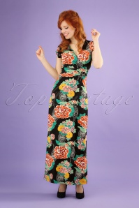 70s Lot Mai Tai Maxi Dress in Black