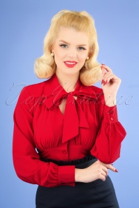 50s Harlow Tie Blouse in Red