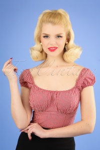 50s Daisey Gingham Top in Red