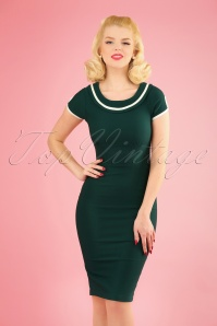 50s Eleanor Wiggle Dress in Hunter Green