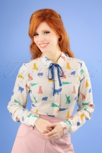 60s Catrina Purrfect Cats Shirt in Cream
