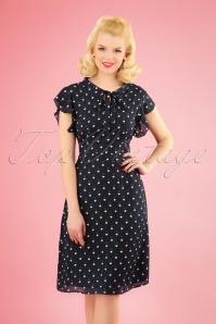 60s Florrie Heart Dots Dress in Navy