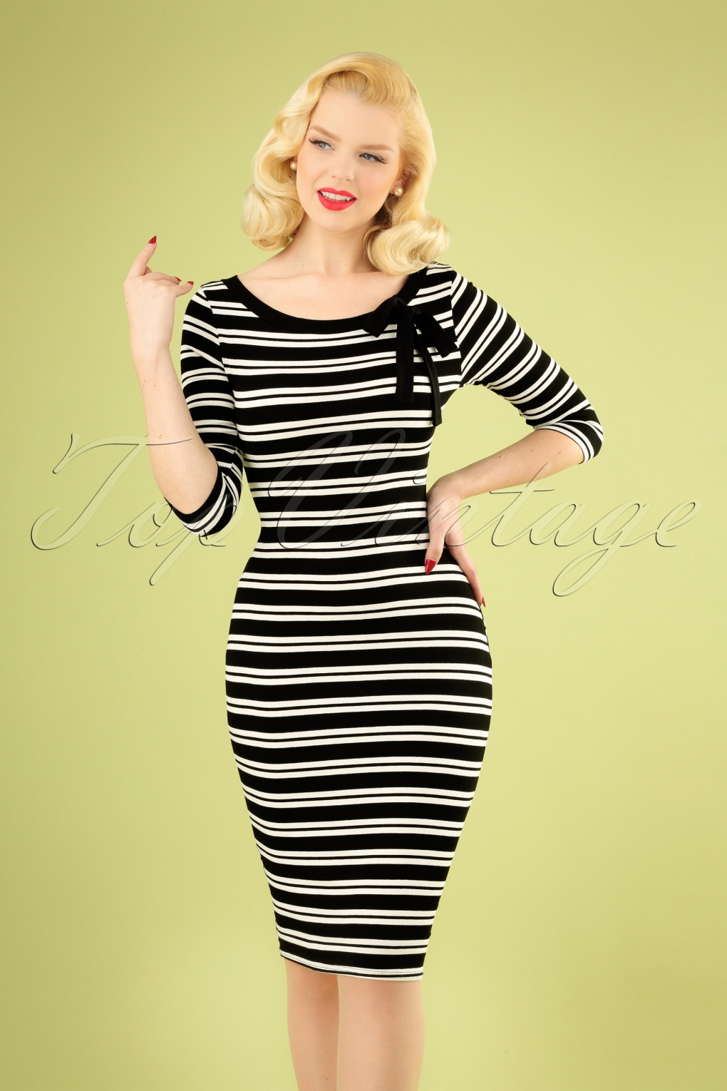 6704068aec789 50s Janice Stripes Pencil Dress in Black and White