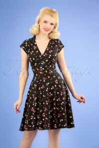 50s Lynne Floral Swing Dress in Black