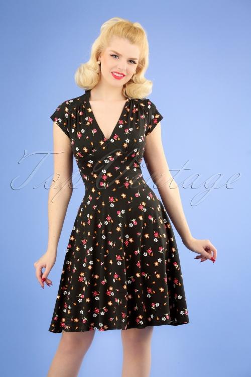 TopVintage Boutique Collection 28922 Black Floral Dress 20190122 1W
