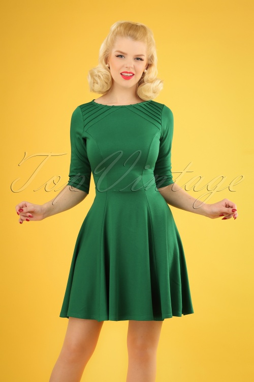 Unique Vintage 27679 Green Knit Dress 20190107 1W