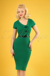 50s Lynne Pencil Dress in Emerald Green