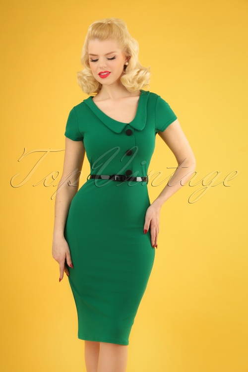 Vintage Chic 28724 Short Sleeve Emerald Green Dress 20190121 1W