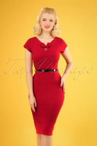 50s Becka Bow Pencil Dress in Deep Red