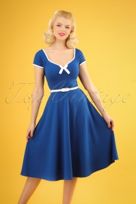 50s Cindy Bow Swing Dress in Royal Blue