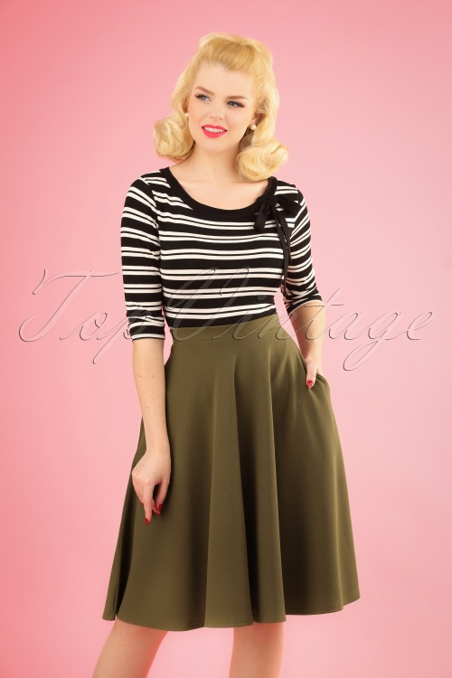 Vintage Chic 28729 50s Sheila Olive Green Skirt 20190108 1W