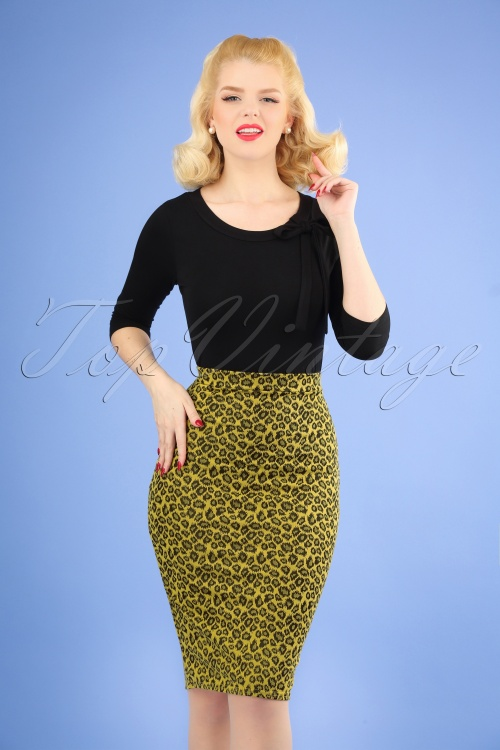 Vintage Chic 28757 Jacquard Mustard Leopard Pencil Skirt 20190108 1W