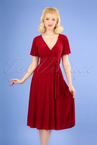 Vintage Chic for TopVintage 40s Irene Cross Over Swing Dress in Red