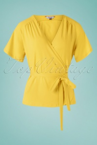 Banned Retro 30s Fancy Raglan Top in Lemon