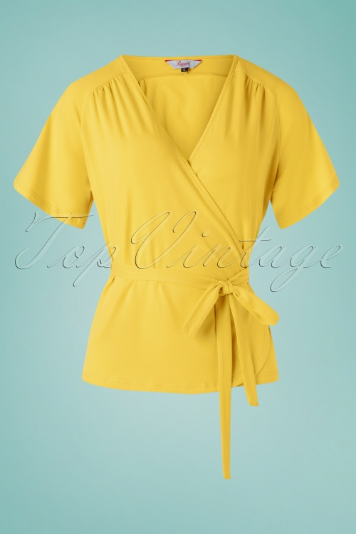 Banned Retro 28506 30s Fancy Blush Blouse Yellow Wrap 20190212 003W
