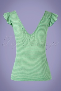 King Louie 27118 Rita Top Green Striped White Shirt 20190212 007W