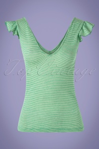 50s Rita Babylon Stripe Top in Very Green