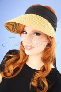 50s Augusta Straw Visor Hat in Natural and Black
