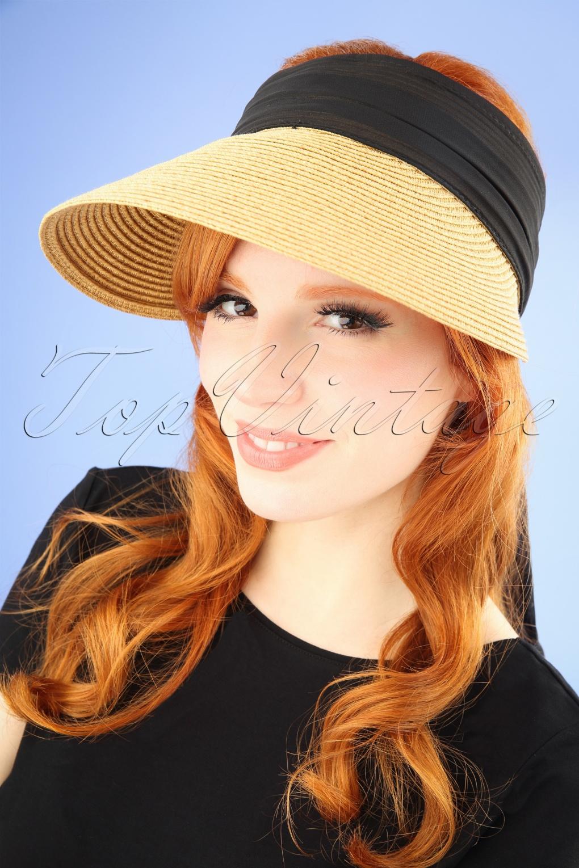 Vintage Hats | Old Fashioned Hats | Retro Hats 50s Augusta Straw Visor Hat in Natural and Black £24.95 AT vintagedancer.com