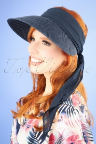 Amici 50s Augusta Straw Visor Hat in Navy