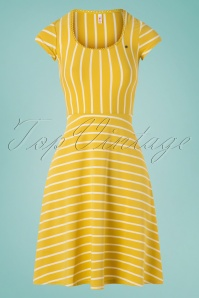 Blutsgeschwister 60s Logo Morning Stripe Dress in Yellow