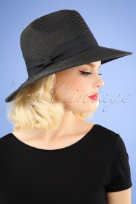 50s Tobago Straw Hat in Black