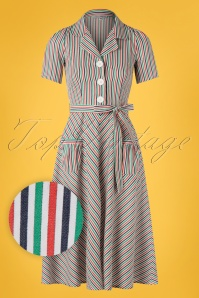 Very Cherry 40s Mimi Stripes Revers Dress in Multi