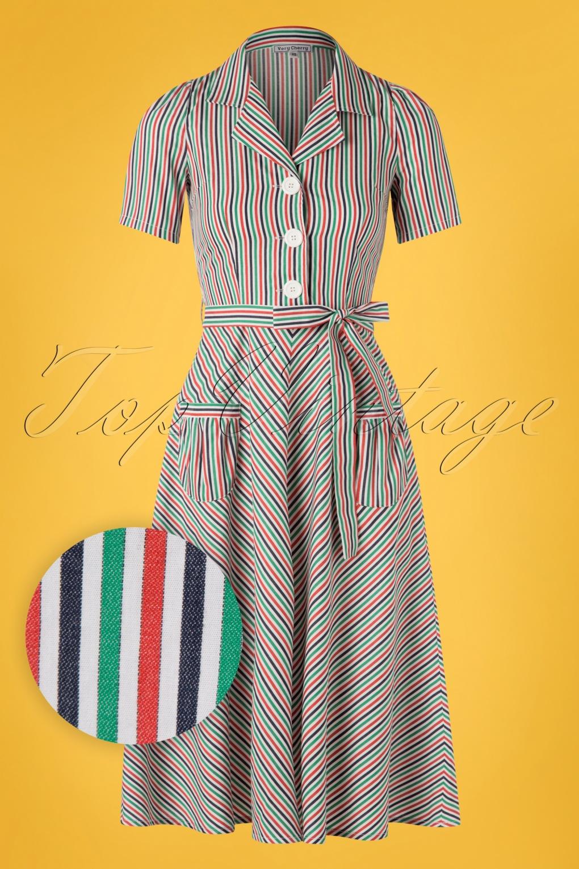 40s Mimi Stripes Revers Dress in Multi