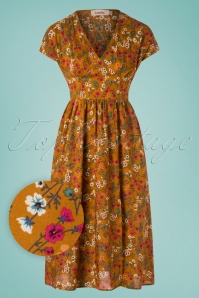Louche 70s Unity Posy Dress in Mustard