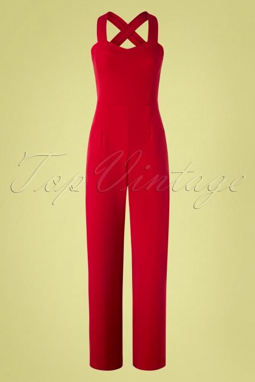 Vintage Chic 29078 Red Wide Leg Jumpsuit 20190208 002W
