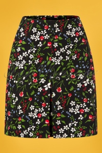 Blutsgeschwister 60s Alltagsfalter Skirt in Poppy Field Black