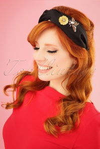 70s Bedazzled Head Band in Black