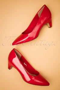50s Tiffany Patent Pumps in Chili Red