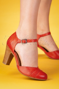 Jay Leather Pumps Années 50 en Rouge Ècarlate