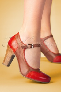 50s Jazzy Pumps in Brown and Red