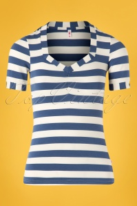 50s Logo Stripes T-Shirt in Wander Blue
