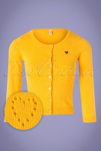60s Wonderwaist Hope Heart Cardigan in Sun Yellow