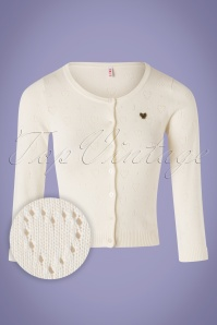 60s Wonderwaist Hope Heart Cardigan in Ivory White