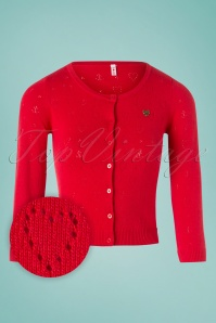 Blutsgeschwister 60s Wonderwaist Hope Heart Cardigan in Lipstick Red