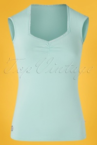 50s Logo Romance Top in Mint Blue River