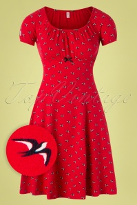Blutsgeschwister 50s Swing Along Dress in Street Swallow Red