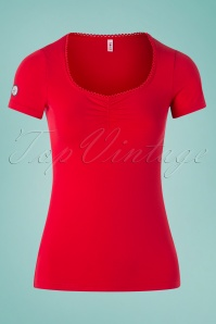 50s Logo Feminin Top in Lipstick Red Light
