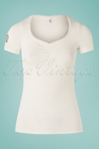 50s Logo Feminin Top in Ivory White Train