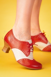 40s Tully Leather Shoe Booties in Red and Ivory