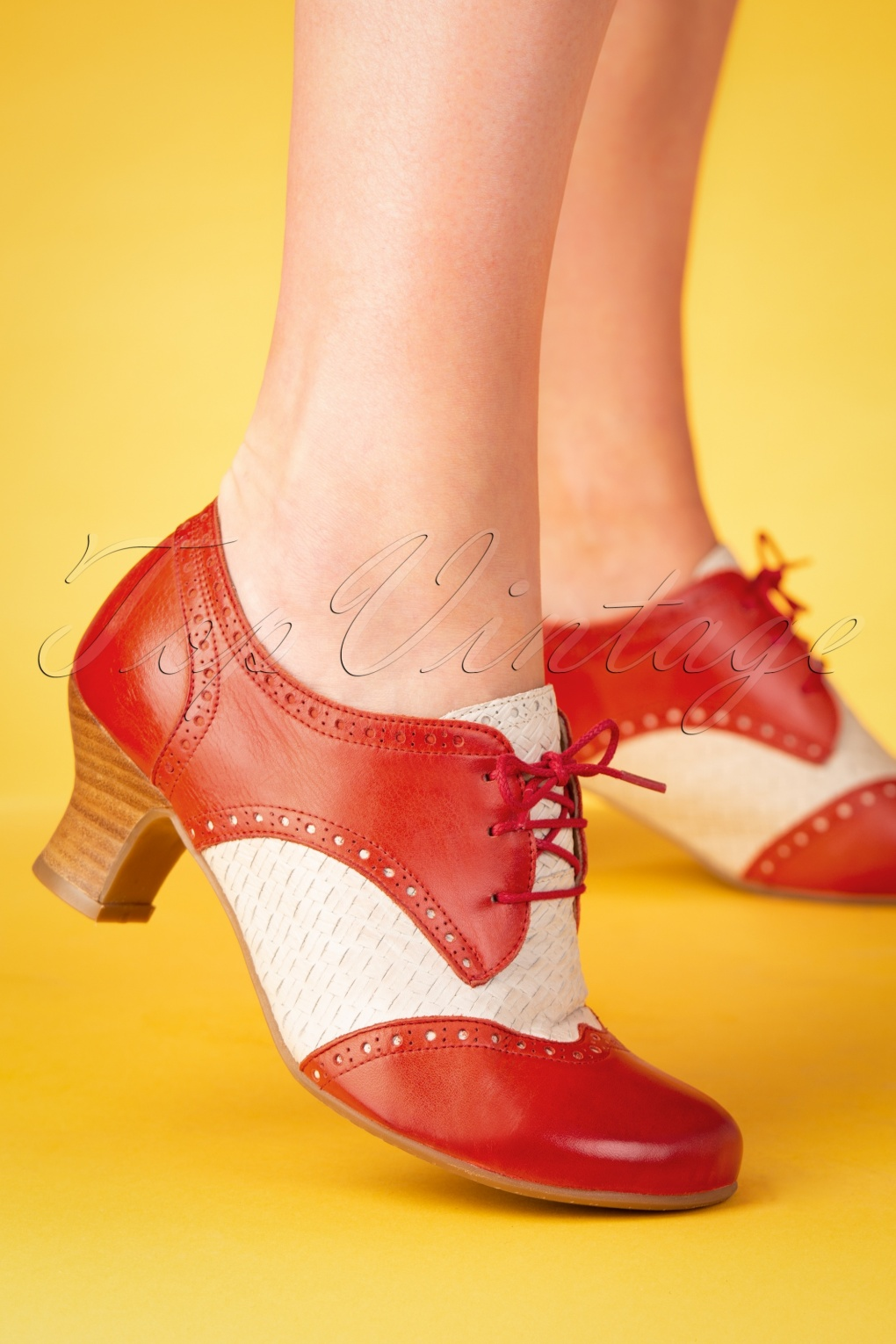 Saddle Shoes History 40s Tully Leather Shoe Booties in Red and Ivory �115.68 AT vintagedancer.com