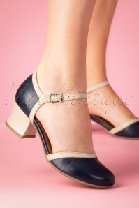Miz Mooz 60s Fleet Leather Pumps in Denim and Beige
